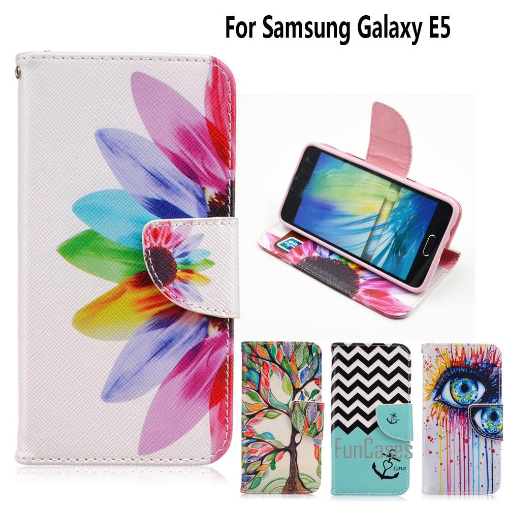 For Coque Samsung E5 Case Fundas Galaxy Cover E500 E500f Sm E5000 5 Inch Stand Card Holder In Flip Cases From Cellphones