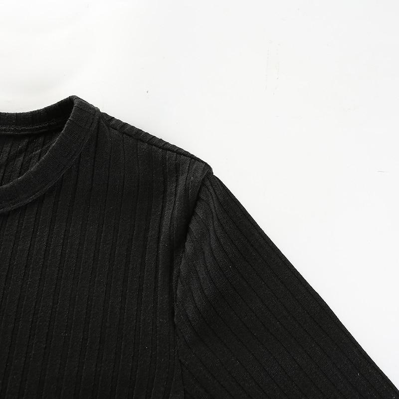 10Sweetown Harajuku Autumn Winter Tshirt Black Korean Fashion Side Zipper Split Shirt Women Striped Crop Top Long Sleeve T Shirt