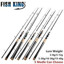 FISH KING 5 Colors Lure Weight 2-40g Ultra Light Spinning Fishing Rod 2.7m 2.4m 2.1m 2 Section Carbon Fiber Fishing Spinning Rod