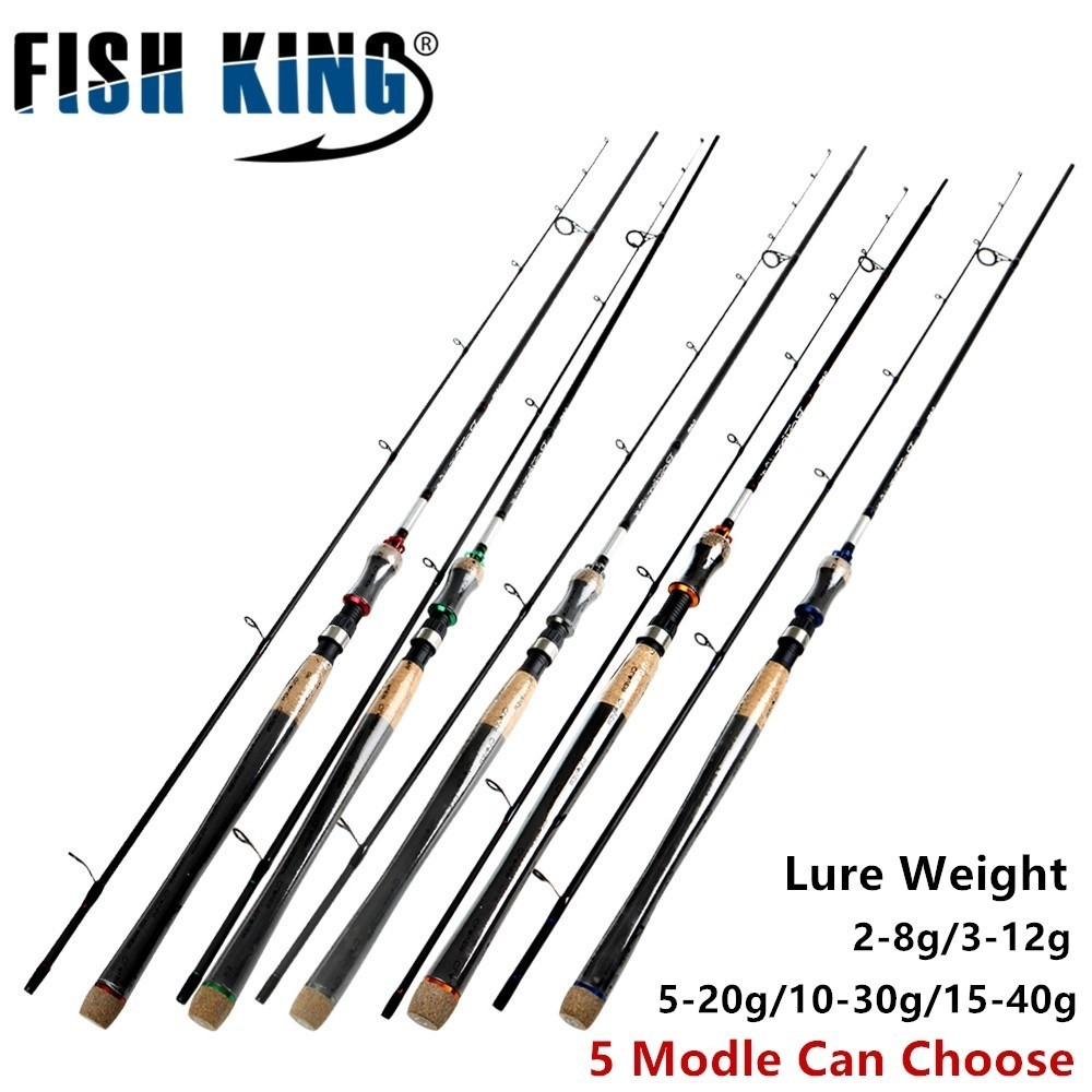 FISH KING 5 Colors Lure Weight <font><b>2</b></font>-40g Ultra Light Spinning Fishing <font><b>Rod</b></font> <font><b>2</b></font>.7m <font><b>2</b></font>.4m <font><b>2</b></font>.1m <font><b>2</b></font> Section Carbon Fiber Fishing Spinning <font><b>Rod</b></font>