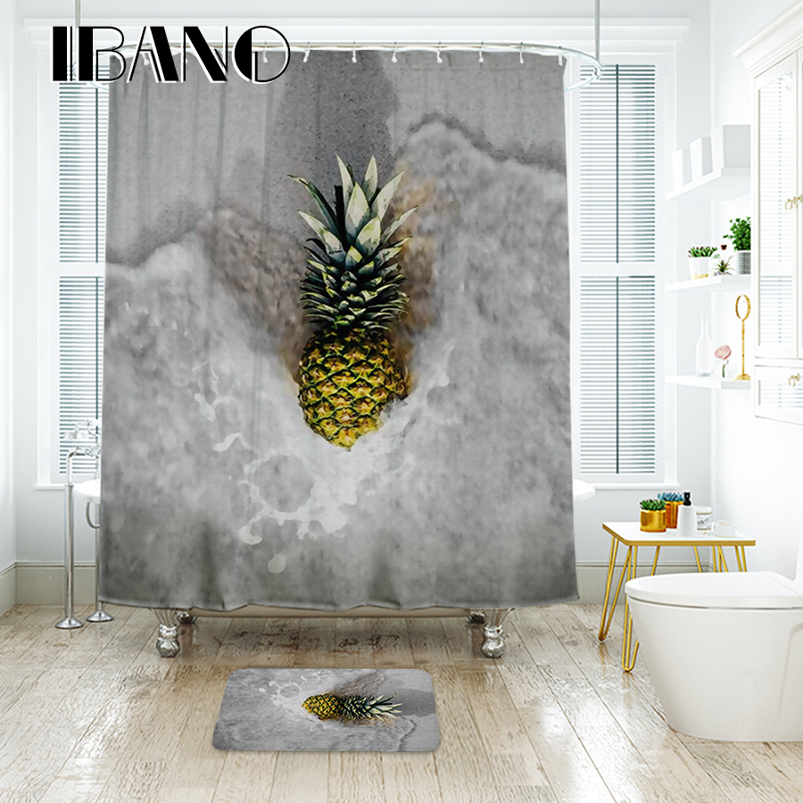 IBANO Pineapple 3D Shower Curtain Waterproof Polyester Fabric Bath Curtain For The Bathroom Decoration in Shower Curtains from Home Garden