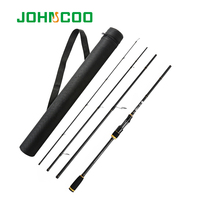 JOHNCOO Spinning Rod with Case Light weight Rod Fast Action 5 20g Casting Fishing Rod Carbon Travel Rod 4 Sections jig Rod