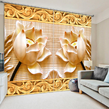 Creative Lotus 3D Printing Curtains With Bedding Room Living Room or Hotel Cortians Thick Sunshade Window