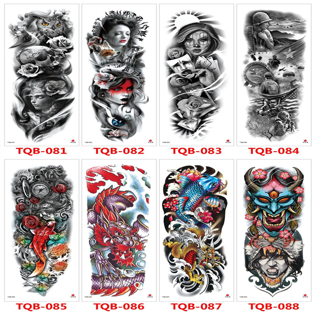 Temporary Tattoo Stickers For Men Full Body Art Arm Sleeve Tattoo 48*17CM Large Waterproof Tatoo Girl Waterproof Flash Tattoo