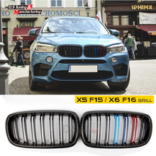X5 X6 carbon fiber grille for bmw F15 F16 2015 2016 2017 2018 8pcs set high quality carbon fiber material plated door handle car sticker for bmw f15 x5 f16 x6 x1 f48 2015 2016 2017