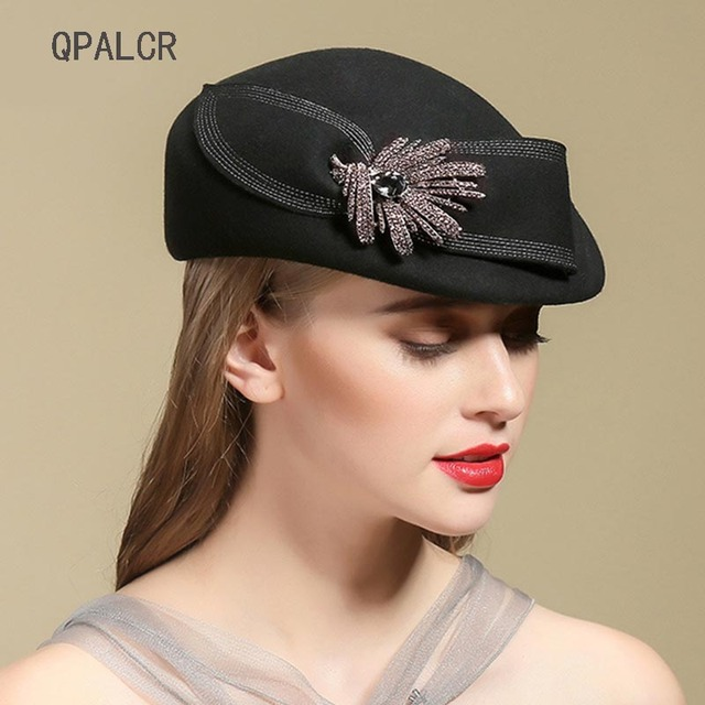 35d0872a US $20.64 20% OFF|QPALCR Fascinator Elegant Hats Women Wool Fedora Hat  Ladies Vintage Wool Felt Hat Berets Classic Black Church Cap Rhinestone -in  ...