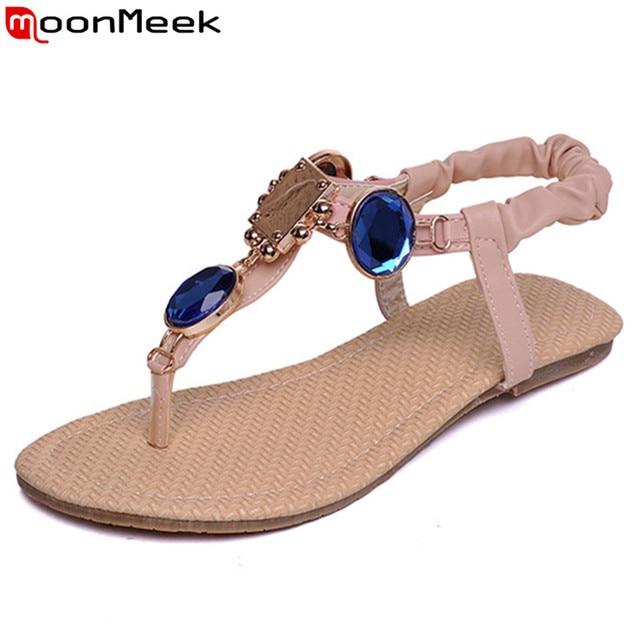 0f217f288077 MoonMeek new fashion rhinestone summer shoes flat women sandals simple  ladies shoes woman flats beige pink