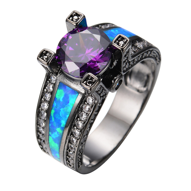 Vintage Purple Jewelry Ocean Blue Fire Opal Stone Women Men Engagement Ring Cz Black