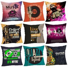 Music Series Cushion Covers Home decoration 45x45 Decorative Beige Linen Pillow Case цена в Москве и Питере