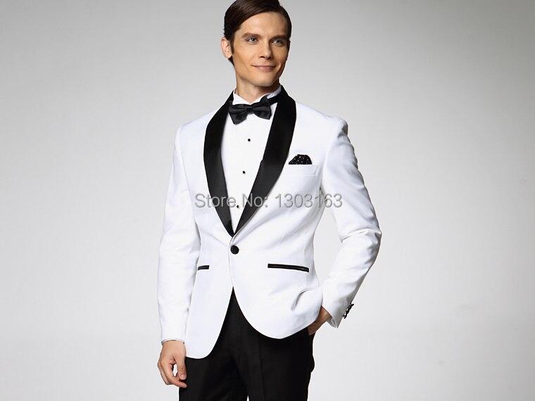 2016 White Jacket With Black Satin Lapel Groom Tuxedos Groomsmen Best Man Suit Mens Wedding Suits Jacket+Pants+Bow Tie+Girdle