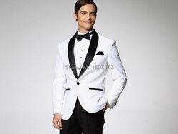 2017 белая куртка с Black Satin нагрудные Жених Смокинги для женихов  Groomsmen Best мужской костюм мужские 085b79b52ac