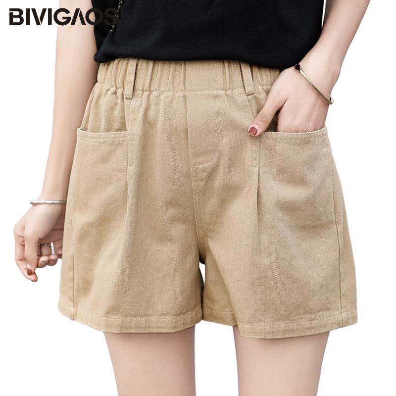 BIVIGAOS 2019 New Summer Women Cotton Cargo Shorts Korean High Waist Short Pocket Elastic Wide Leg Shorts Casual Loose Hotpants