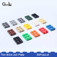 60Pcs/Lot Plate 2 x 3 MOC Brick Building Blocks Small Paticles Compatible with  DIY Educational Assemble Toy Kids Gifts