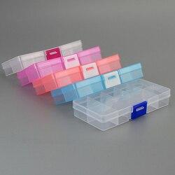 Nuevo 10 ranuras celdas coloridas herramientas de joyería portátil caja de almacenamiento anillo contenedor piezas electrónicas tornillo cuentas organizador caja de plástico