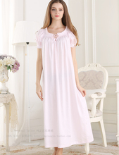 2017 Promotion Princess Nightdress Solid Cotton Sleepwear Round Neck Short Sleeve Night Gown Ankle-length Bow Nightgowns Pt1616
