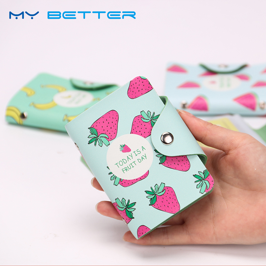 Fashion PU Leather Function 20 Bits Card Case Business Card Holder Fruit Pattern Women Credit ID Passport Card Bag stylish strip pattern flip open pu leather case w holder card slot for iphone 5c blue white