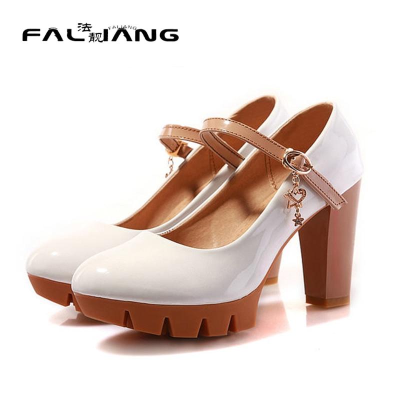 ФОТО Plus Size 34-43 Fashion Sexy rouned Toe Sweet Colorful High Heels Woman Shoes mary janes Women's Pumps