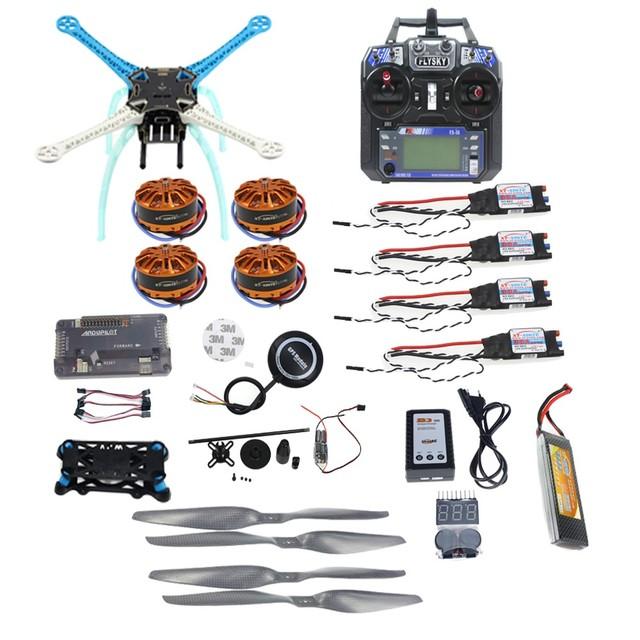 DIY Kit completo GPS Zangão APM2.8 500mm Multi-Rotor com 700KV Do Motor 30A ESC 6CH 9CH Transmissor 11.1 V 4400 MAH Da Bateria F08191-L