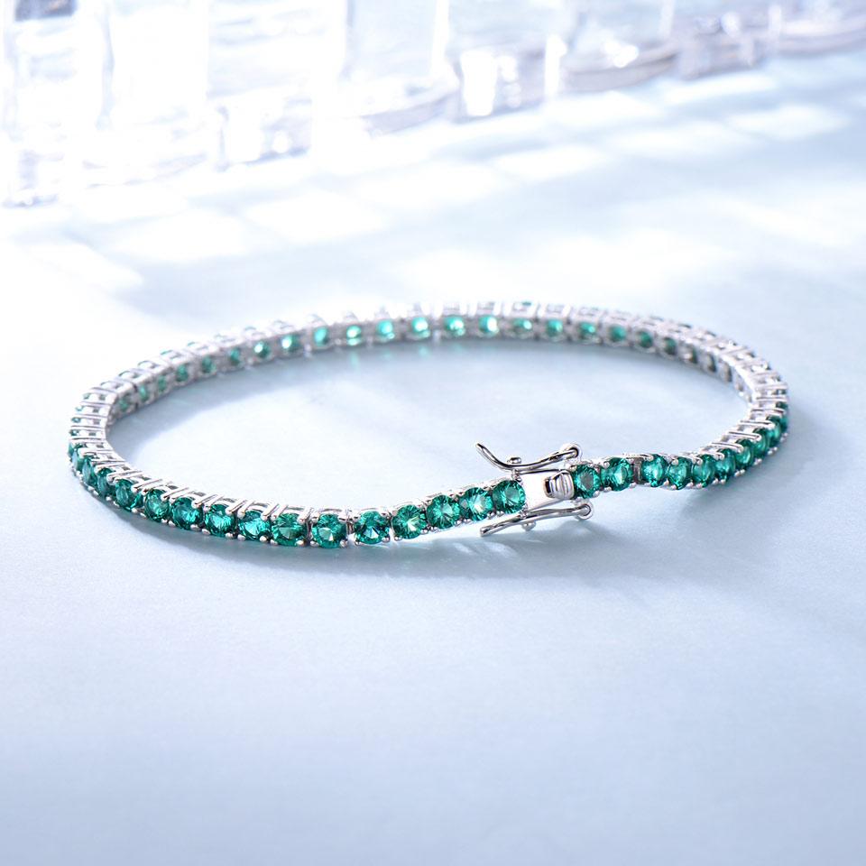 UMCHO 8.1ct Luxury Emerald Bracelets for Women 925 Sterling Silver Bracelet Birthstone Romantic Wedding Green Gemstone Jewelry