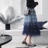 Gradient sea blue layers mesh lace skirt lolita female