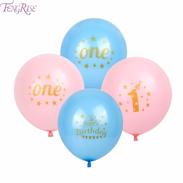 FENGRISE 12pcs Happy First Birthday Decoration Mixed Latex Balloons 1st Party Decorations Kids I AM ONE Year Blue Pink