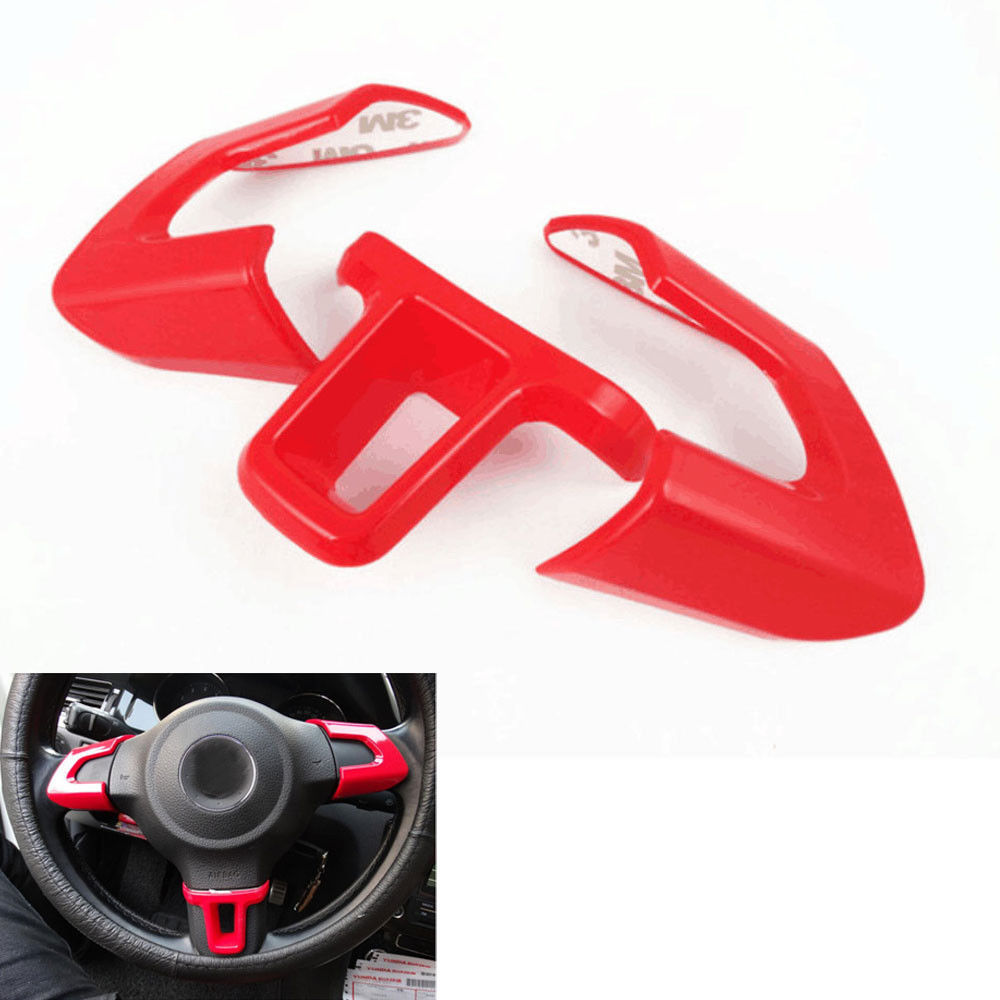 BBQ@FUKA 3pcs Chrome Red Car Steering Wheel Cover Trim Sticker For Golf MK6 POLO Bora 2013 2014 Auto Interior Car accessories