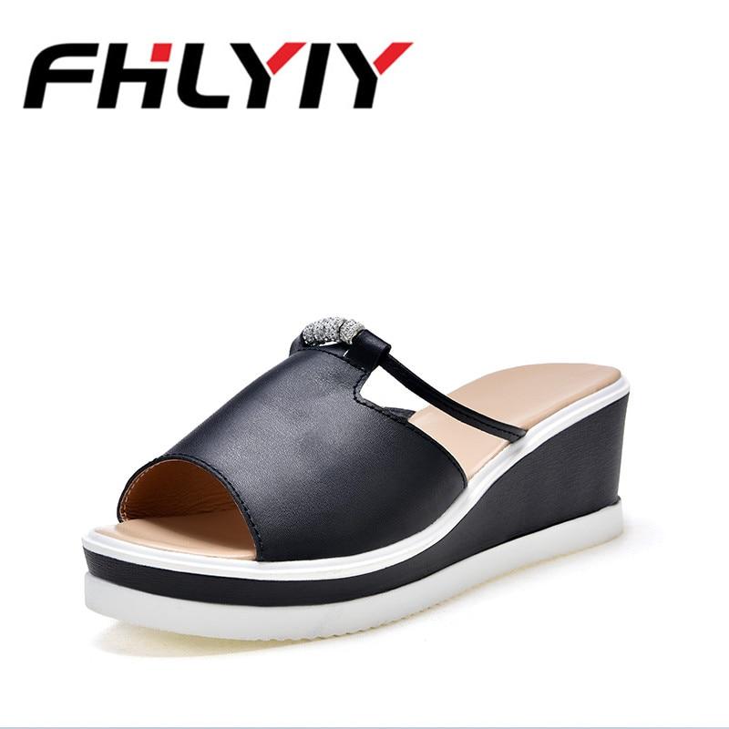 2018 Women Leather Slippers Wedge Sandals Glitter Sandal Platform Comfortable Summer Flip Flops -7555