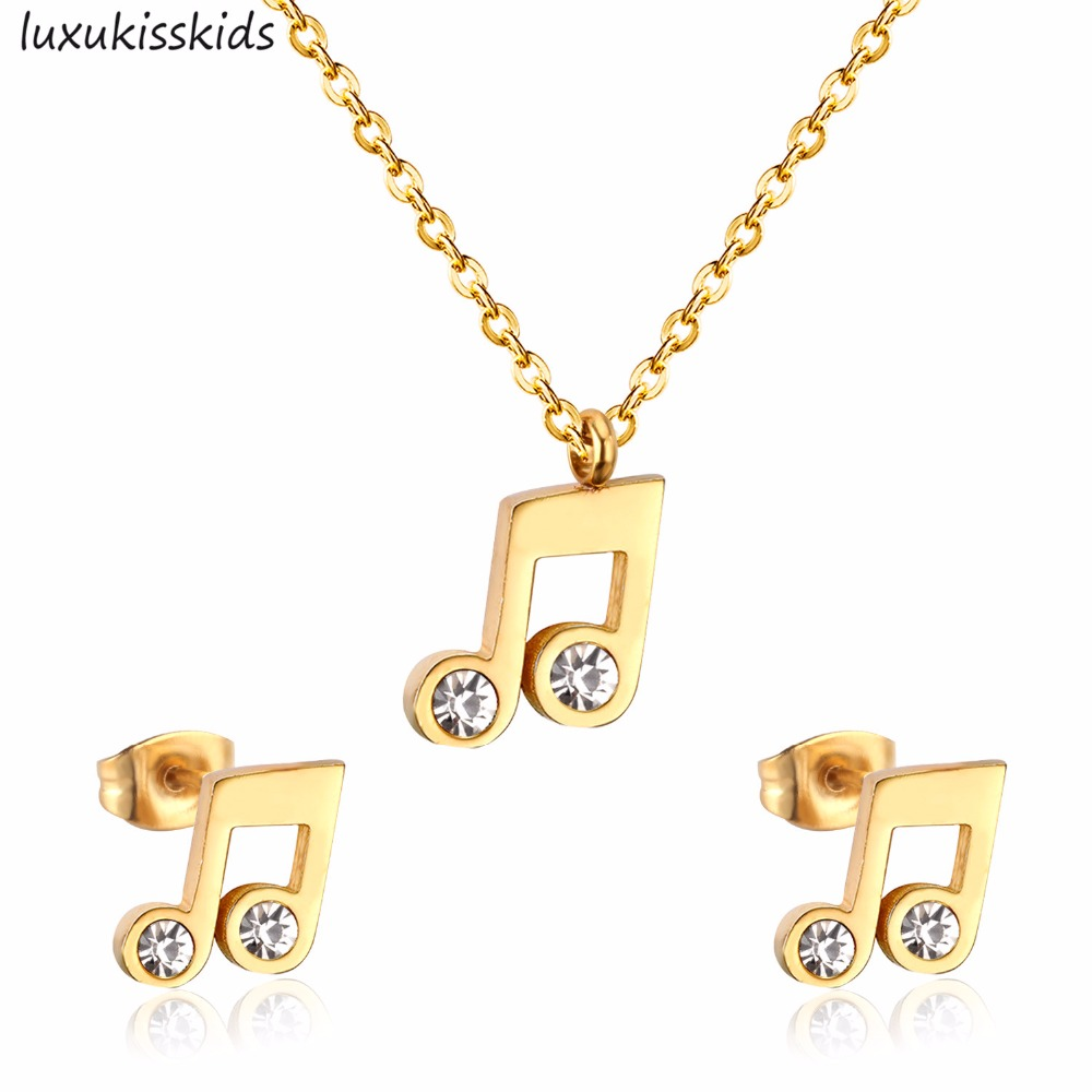 LUXUKISSKIDS Popular Jewelry Sets Musician Symbol Stainless Steel Jewelry Sets For Girl Gift Jewelry