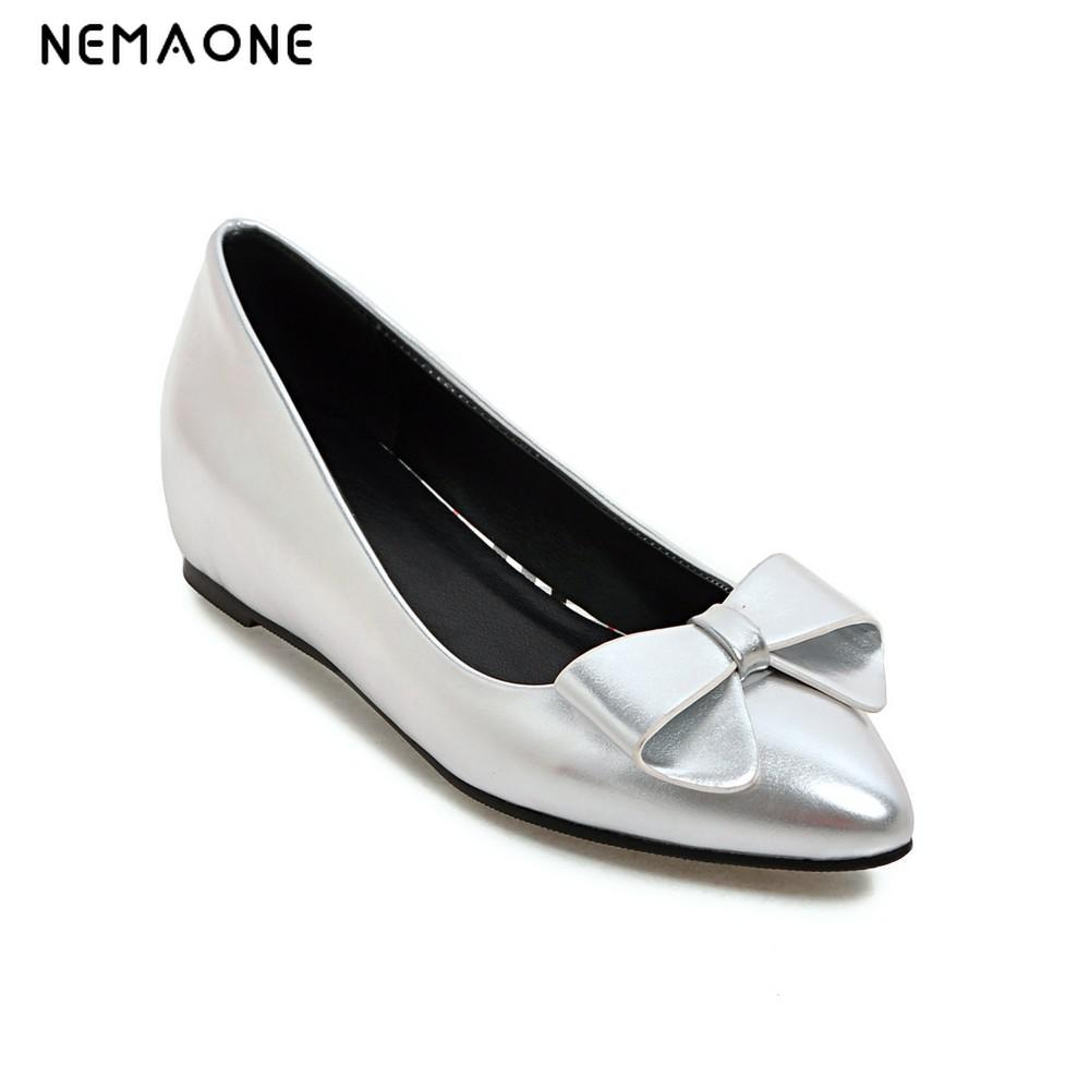 New Elegant Women Flat Shoes Fashion Summer Spring Bowtie shoes woman Ladies Slip On Shoes plus size 34 43 new platform flat shoes woman spring summer sweet casual women flats bowtie ladies party wedding shoes