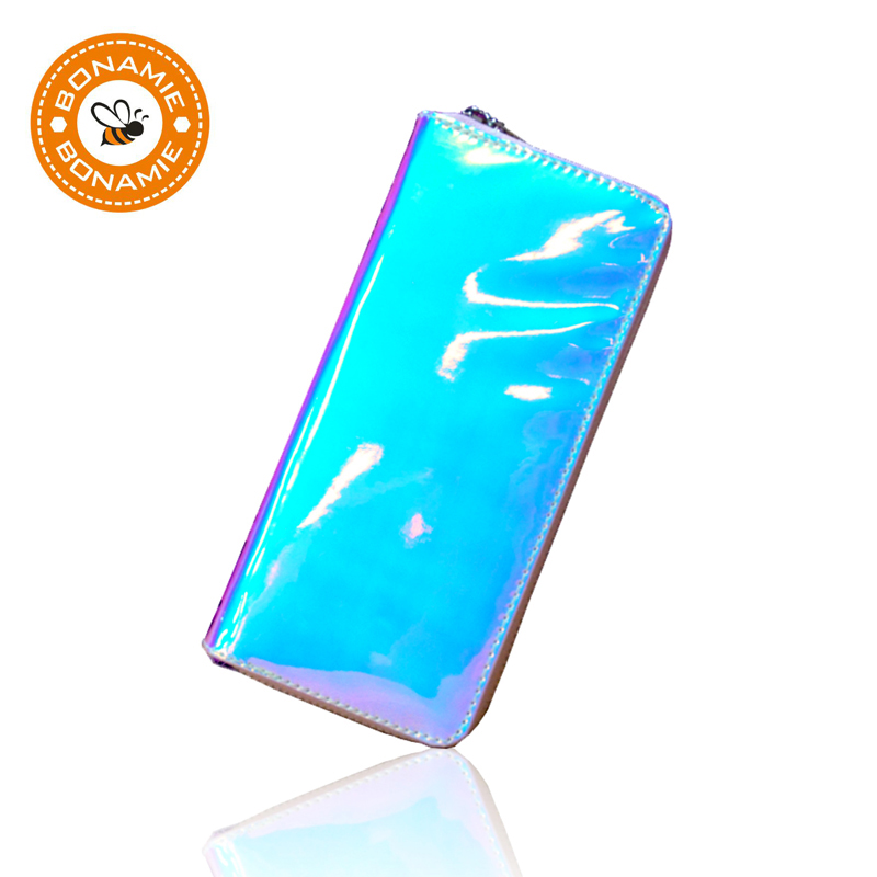 BONAMIE Laser Leather Hologram Women Wallet Female Long Clutch Purse Personality Girl Wallets Creative Card Phone