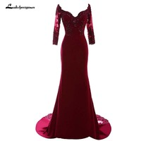 Burgundy Formal Evening Dresses Robe De Soiree 2018 Mermaid V Neck Crystal Bead Party Prom Gown