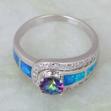 Fashion rings for women Blue Rainbow Mystic Topaz Opal 925 Sterling Silver Overlay jewelry ring size 5 6 6.5 7 7.5 8 10 R408