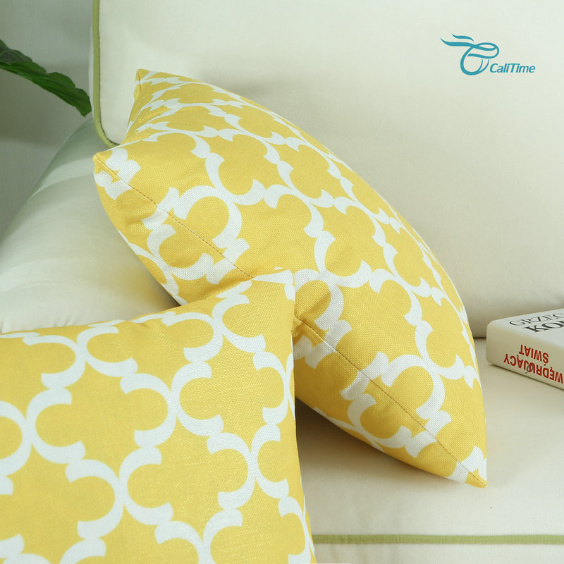 2pcs Square Calitime Yellow Cushion Cover Pillows Shell Quatrefoil Accent Geometric Home Sofa Decor 18 X 18 45cm X 45cm Beautiful And Charming