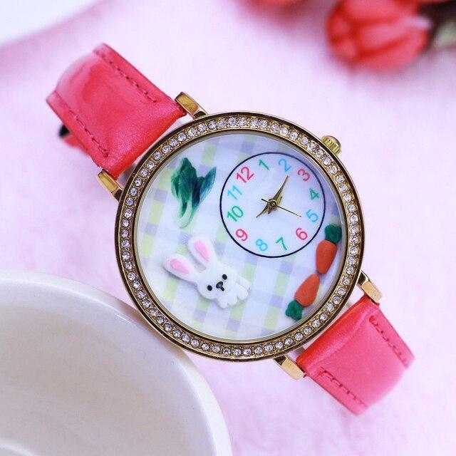 2018 women ladies girls luxury diamond 3D rabbit cartoon quartz wristwatch leath