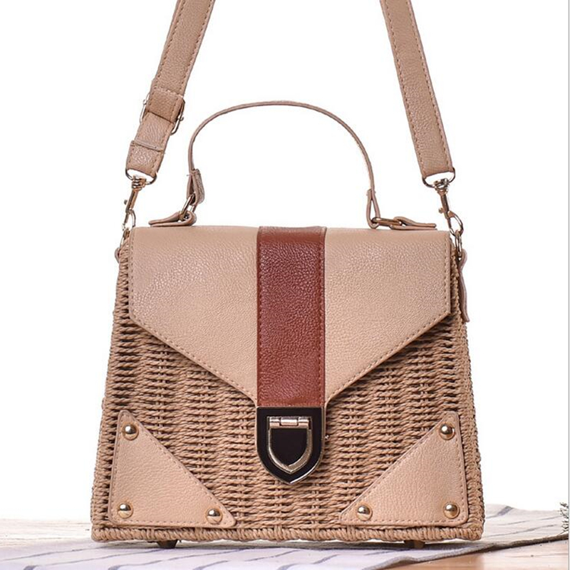 цены Fashion High Grad Vacation Handbag Handmade Women Weave Straw With PU Leather Tote Girls Travel Bag Bolsas