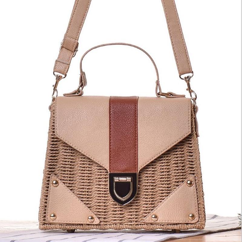 цены Fashion High Grad Vacation Handbag Handmade Women Weave Straw With PU Leather Tote Girls Travel Bag Bolsas