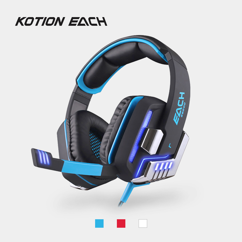 KOTION EACH Wired Gaming Headphone 7.1 Surround Vibration USB Headset with Mic LED Light Headband Game Earphone for for PC PS4 each g2200 professional stereo bass gaming headset 7 1 surround sound vibration function pc gamer headphone with mic led light