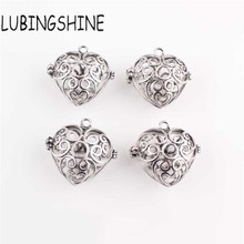 LUBINGSHINE Girl Women's Antique silver Hollow Out Heart Locket Pendant Necklace Valentine's Day Gift Diy cage Accessory