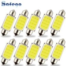 Safego 10 adet C5W LED COB Festoon 31mm 36mm 39mm 42/41mm araba için ampuller plaka işık İç okuma lambası DC 12V beyaz