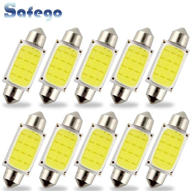 Safego 10pcs C5W LED COB Festoon 31mm 36mm 39mm 42/41mm Bulbs for Car License Plate Light Interior Reading Lamp DC 12V White