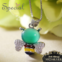 Special New Fashion 925 Sterling Silver Necklaces & Pendants Lovely Fairy Maxi Necklace Enamel Jewelry Gifts for Women S1654N недорого