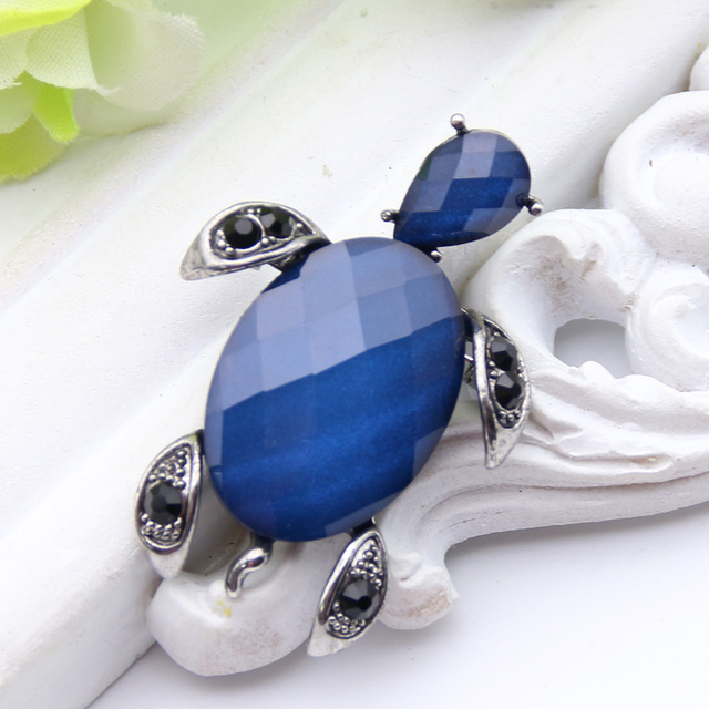Exquisite Big Crystal Sea Turtles Brooch Pins For Women Blue Animal Jewelry  Antique Gold Color Scarf