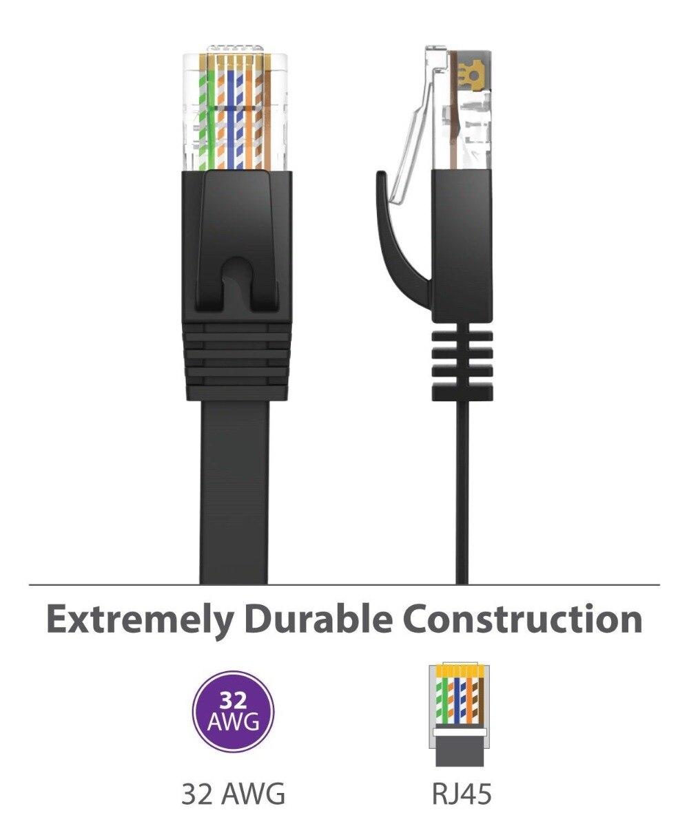 Кабель CAT6, плоский сетевой кабель UTP Ethernet RJ45, черный, белый цвет, 25 см, 3ft1.5ft, 1 м, 2 м, 3 м, 10 м, 10 м, 15 м, 20 м, 30 м