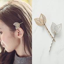 Hollow Metal double leaves Hair pins Side Bangs Clip Crystal Accessories  Rim Clips For Women Bows Headband -4