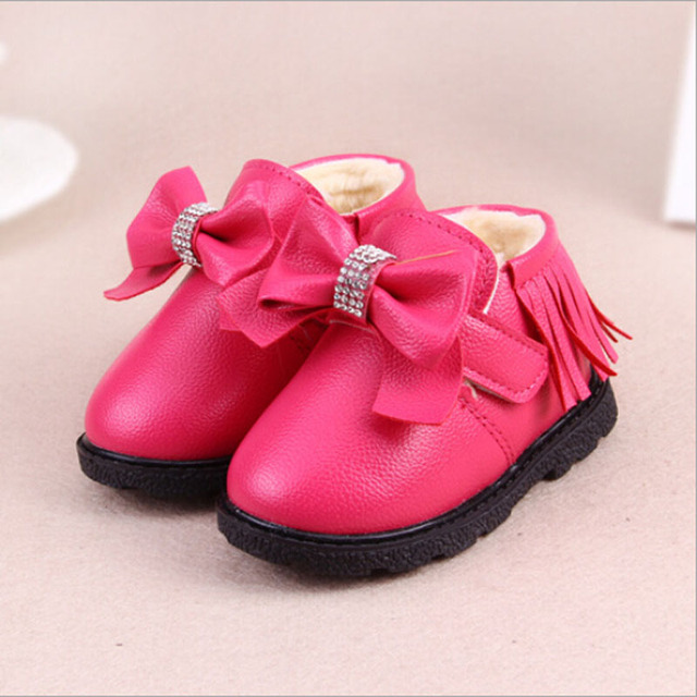 baby shoes baby girl shoes cute bow-knot pu leather winter boots girls fashion tassel rhinestone warm cotton baby boots girls