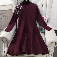 ALPHALMODA Typical Women S Knitted Party Dress Diamonds Stones Decor Slim Waist A Line Elegant Female