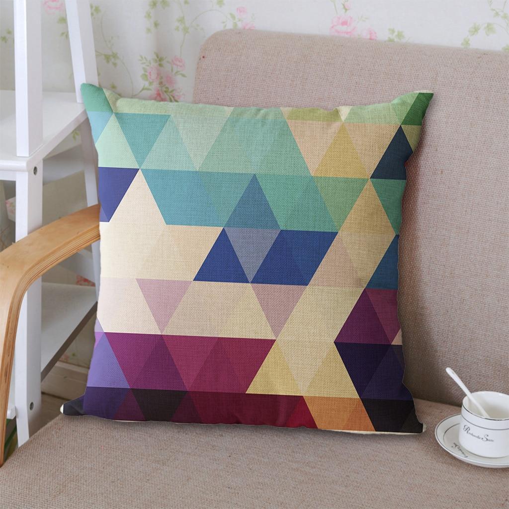 18Geometric Design Cushion Cover Cotton Blend Linen Throw Pillow Case Colorful Diamond Stipes Printed Hone Sofa Pillow Cover