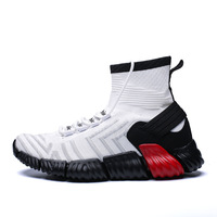 New Fashion Trend Medium Cut Elastic Band Sneakers Breathable Air New Style Socks Shoes Casual Shoes For Men Boots Man Shoe