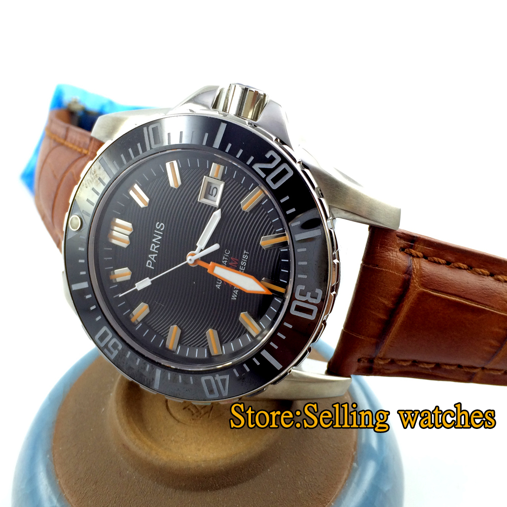 43mm Parnis 20 ATM Waterproof Ceramic Bezel Black Dial Miyota Automatic Mens WristWatch 2017 hot sale game shell atm bezel ncr round bezel ncr skimmer atm parts with superior quality