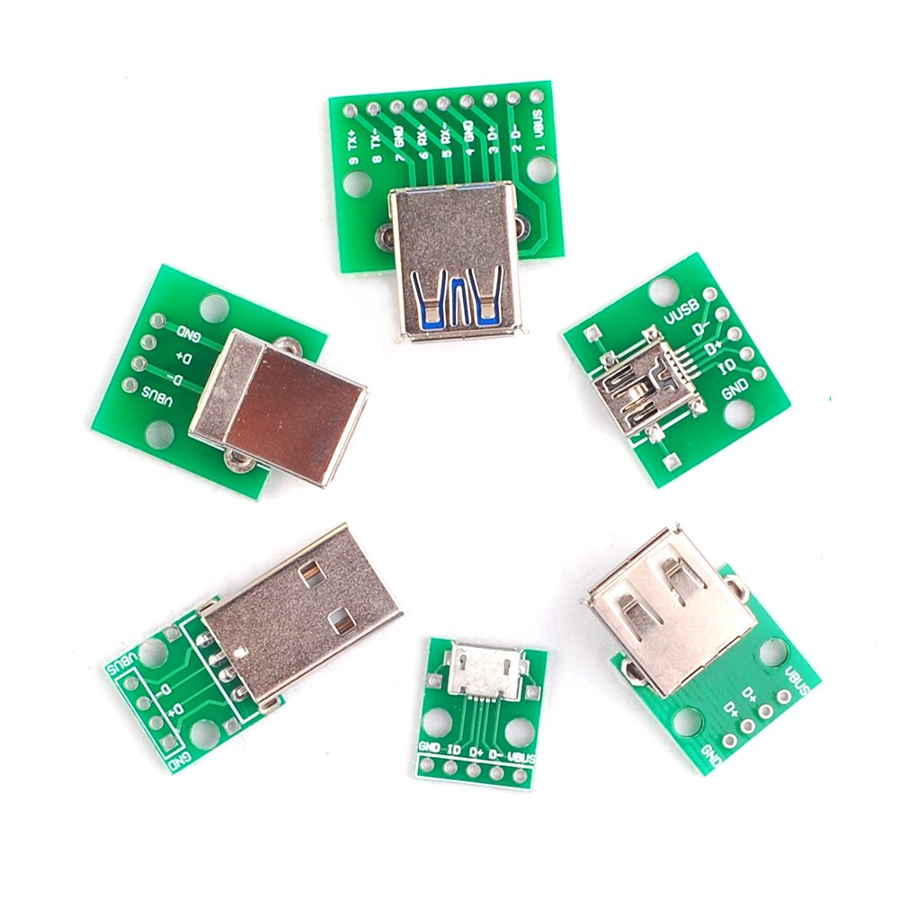 6PCS USB to DIP Adapter Converter for 2.54mm PCB Board USB 2.0 USB 3.0 USB-01 USB-02 USB-03 USB-05 Power Supply each 1pcs 2pcs to263 5 to252 5 to dip adapter board for diy